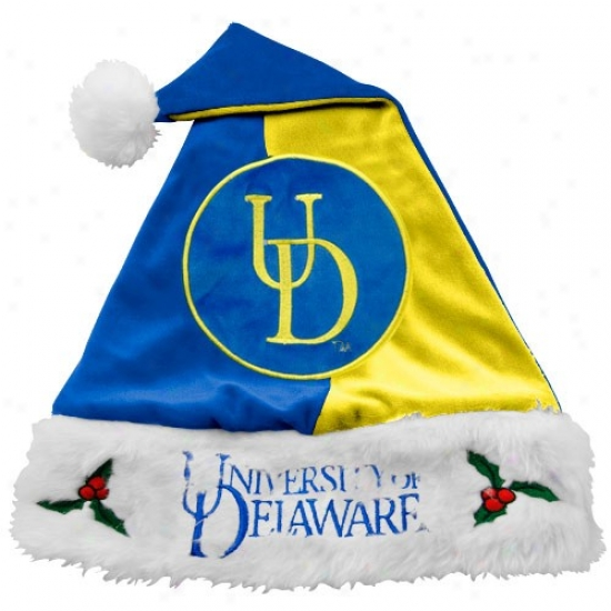 Delaware Fightin' Blue Hens Mistletoe Santa Hat