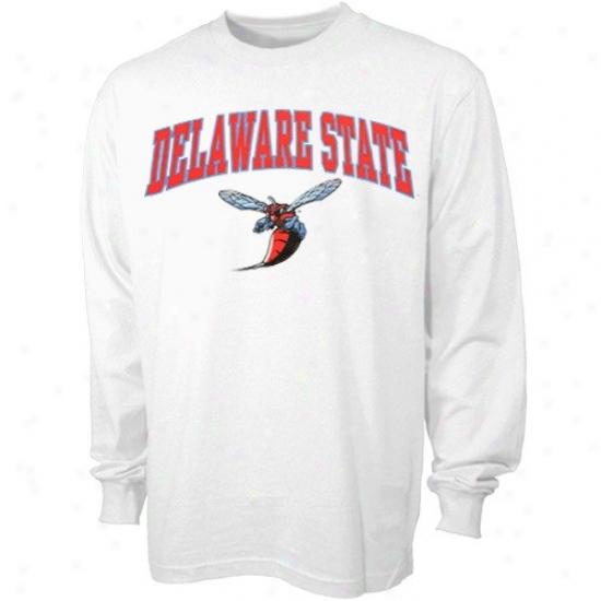 Delaware State Hornetss T-shirt : Delaware State Hornets White Bare Essentials Long Sleeve T-qhirt