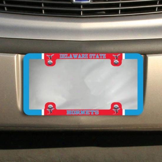 Delaware State Hornets Thin Rim Varsity License Plate Construct