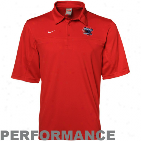 Depaul Azure Demons Clothes: Nike Depaul Blue Demons Red Nikefit Performance Polo