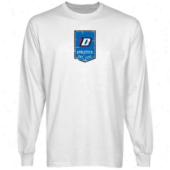 Depaul Blue Demons Shirt : Depaul Blue Demons White Banner Lont Sleeve Shirt