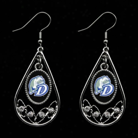 Drake Bulldogs Ladies Tear Drop Crystal Dangle Earrings