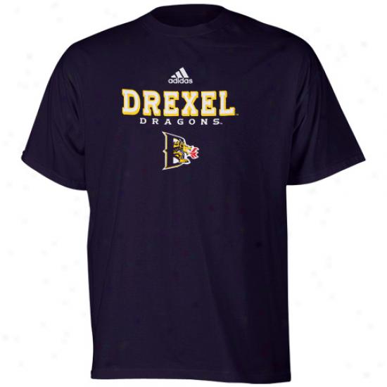 Drexe lDragons T Shirt : Adidas Drexel Dragons Navy Blue True Basic T Shirt
