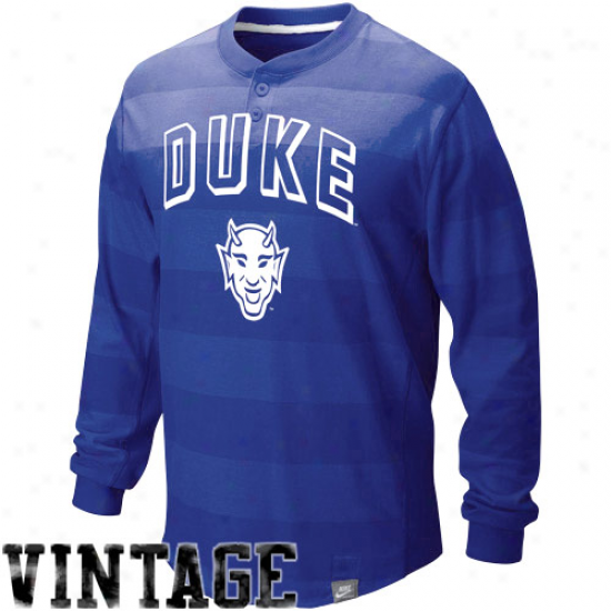 Duke Blie De\/il Shirts : Nike Duke Blue Devil Dhke Blue Society Vault Vintage Long Sleeve Henley Shirts