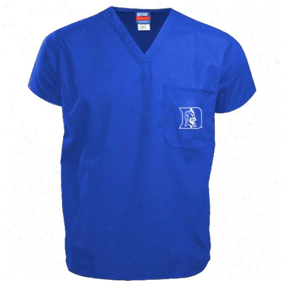 Duke Blue Devil T-shirt : Duke Blu Devil Magnificent Blue Scrub Top