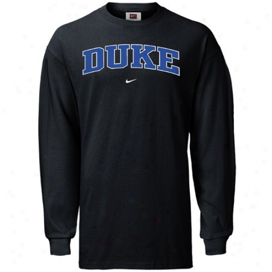 Duke Blue Devil Tshirt : Nike Duke Blue Devil Black College Classic Long Sleeve Tshirt