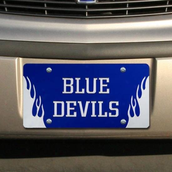Duke Blue Devils Royal Blue Mirrored Flame License Plate