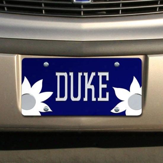 Duke Blue Devils Roayl Blue Mirrored Flower Power License Plate