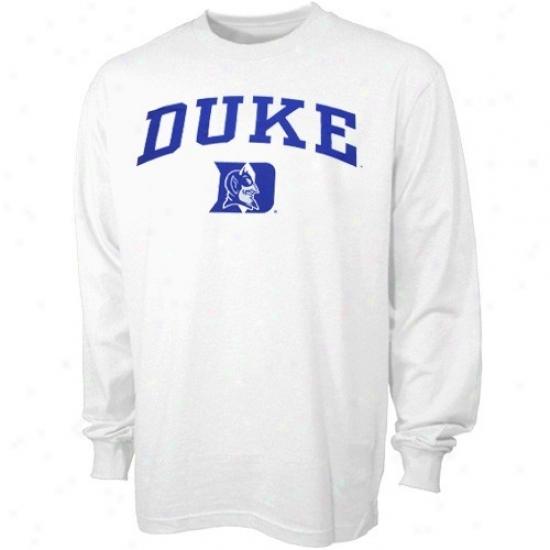 Duke Blue Devils T-shirt : Duke Blue Devils White Youth Bare Essentials Long Sleeve T-shirt