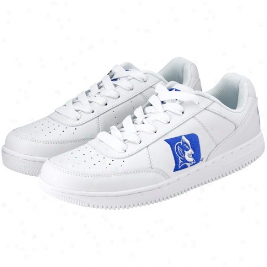 Duke Blue Devils White Team Logo Leather Tennis Shoes
