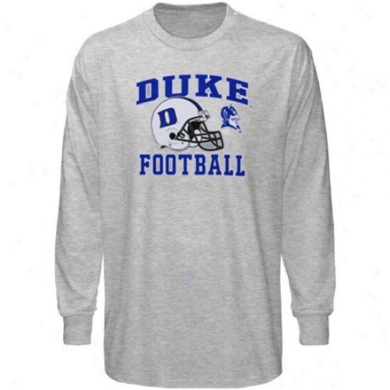 Duke University T Shirt : Duke University Ash Football Booster Long Sleeve T Shirt