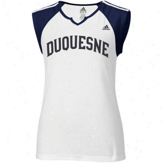 Duquesne Dukes T-shirt : Adidas Duquessne Dukes Ladies White Superfont Raglan T-shirt
