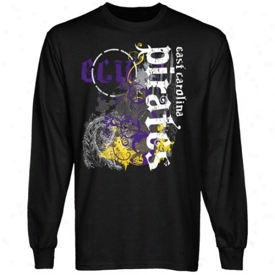Eqst Carolina Pirates Attire: East Carolina Pirates Mma Splat Black Long Sleeve T-shirt
