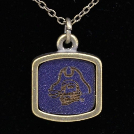 East Carooina Pirates Engraved Square Leather Necklace