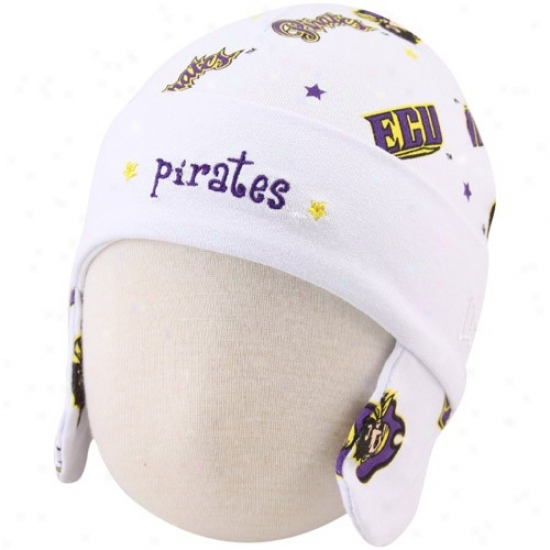 East Carolina Pirates Gear: New Era East Carolian Pirates Infant White Ski Knit Baby Beanie