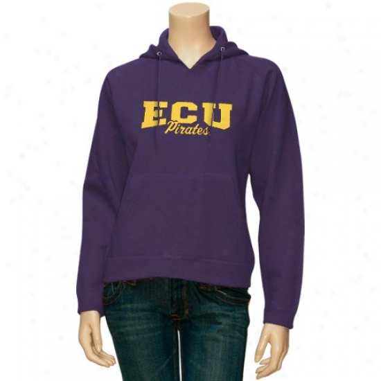East Carolina Pirates Hoody : East Carolina Pirates Ladies Purple Pro-weave Hoody