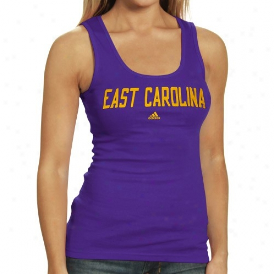 East Carolina Pirates Shirts : Adidas East Carolina Pirates Ladies Purple Fontism Tank Top