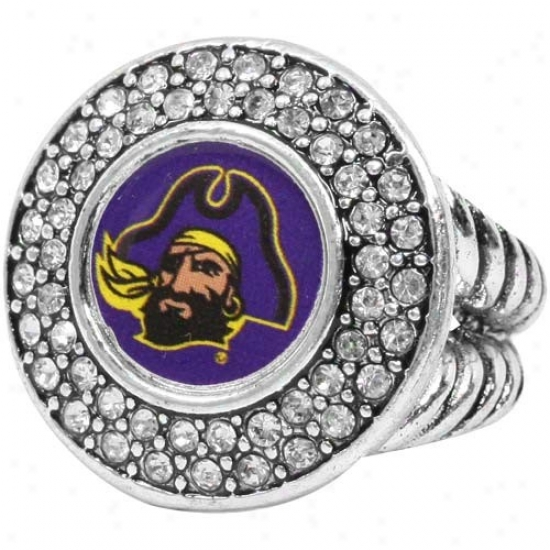 East Carolina Pirates Team Logo Crystal Ring