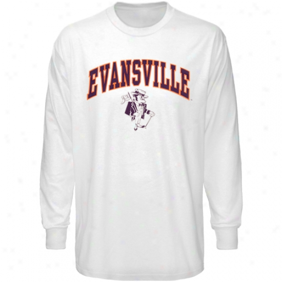 Evansvill Purple Aces Tshirt : Evansville Purple Aces White Bare Essentials Long Sleeve Tshirt