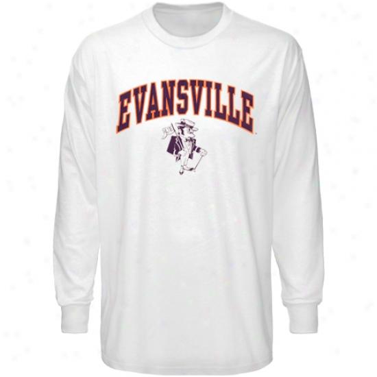 Evansvill Purple Aces Tshirt : Evansville Purple Aces White Bare Essentials Long Sleeve Tshirt