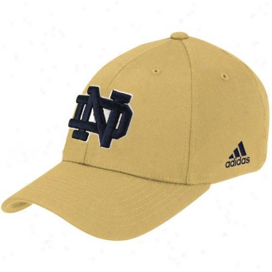 Fighting Irish Hat : Adidas Fighting Irish Gold Basic Logo Flex Fit Hat