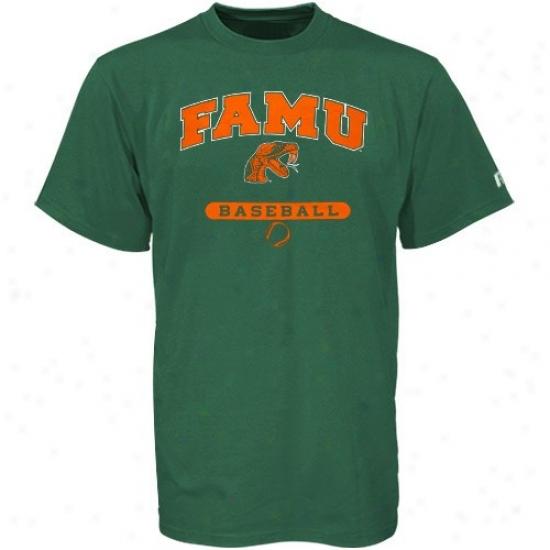 Florida A&m Rattlers T Shirt : Russell Florida A&m Rattlees Green Baseball T Shirt