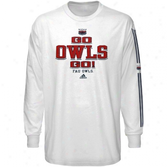 Florida Atlantic University Owls T Shirt : Adidas Florida Atlantic University Owls Whlte Victory Song Long Sleeve T Shirt
