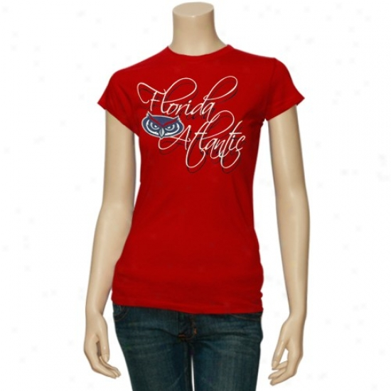 Florida Atlantic University Owls Tee : Florida Atlantic University Owls Red Ladies Script Tee