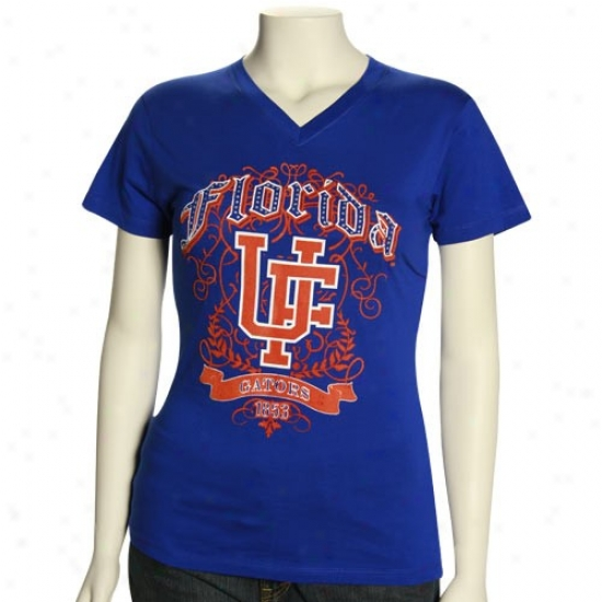 Florida Gator T Shirt : Floridda Gator Women's Royal Blue Flocking V-neck Premium T Shirt