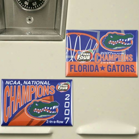 Florida Gators 2007 Ncaa Men's Basketball National Champions 2 Collection Magnets