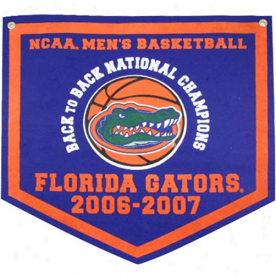 """florida Gators 2007 Ncaa Men's Basketball Nationa Champions 18""""x18"""" Back To Back Royal Blue Rafter Banner"""