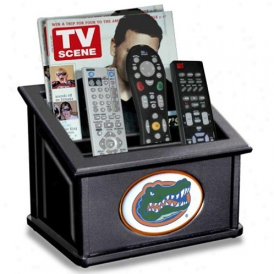 Florida Gators Black Wooden Team Logo Media Organizer