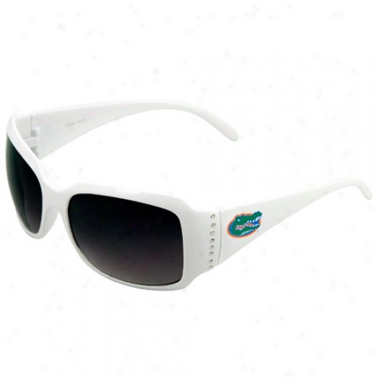 Florida Gators Ladies White Rhinestone Fashion Sunglasses
