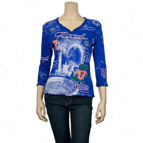 Florida Gators Tshirts : Florida Gators Livid Ladies Riffle V-neck Rhinestone 3/4 Sleeve Tshirts
