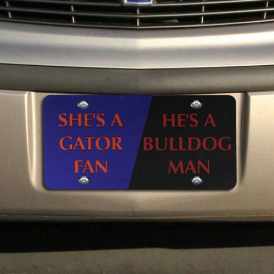 Florida Gators/georgia Bulldosg House Divided Mirrores License Plate