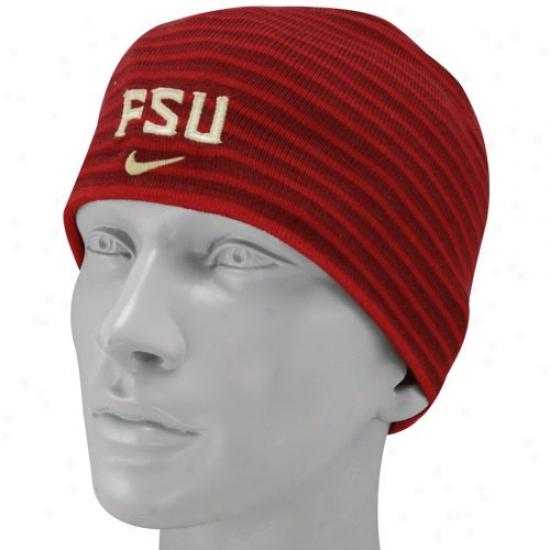Florida State Cap : Nike Florida State (fsu) Ladies Garnet Striped Dean's List Beanie