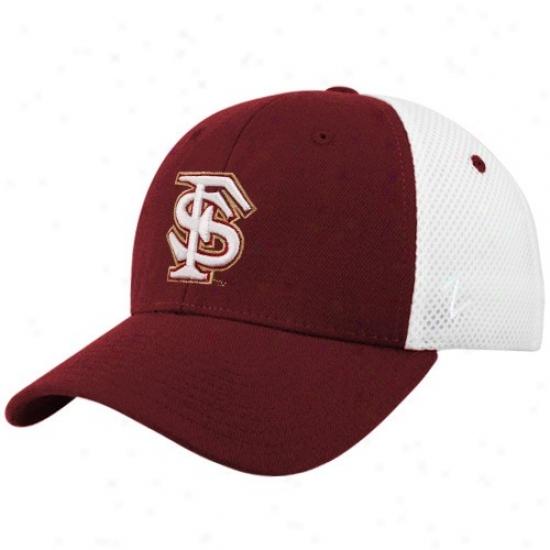 Florida State Cap : Zephyr Florida State (fsu) Garnet-white Shortstop Z-fit Cap