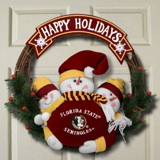 Florida State Seminoles (fsu) 20'' Three Plush Snowmen Happy Holidays Wreath