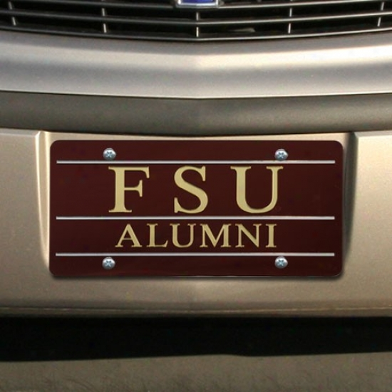 Florida Sfate Seminoles (fsu) Garnet Mirrored Alumni License Plate