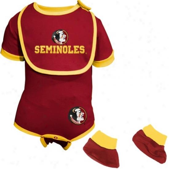 Florida Rank Seminoles (fsu) Garnet Newborn Bib & Booties Set