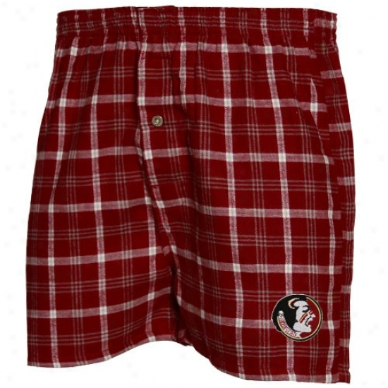 Florida State Seminoles (fsu) Garnet Tailgate Plaid Boxer Shorts