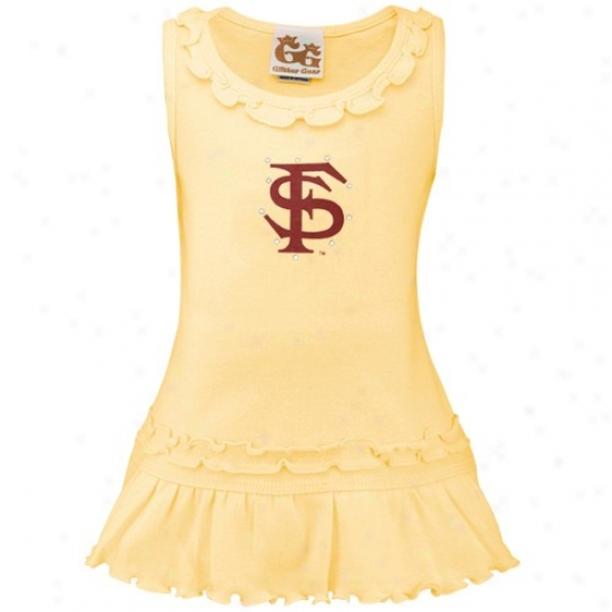 Florida State Seminoles (fsu) InfantG irls Light Gold Swaovski Crystal Ruffle Cistern Dress