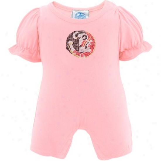 Florida State Seminoles (fsu) Infant Girls Pink Rhinestone Romper