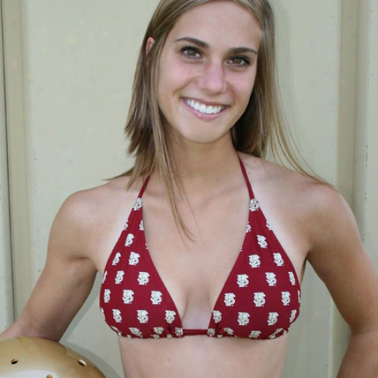 Florida State Seminoles (fsu) Ladies Garnet Spring Breaker Bikini Top