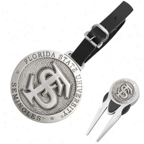Florida State Seminoles (fsu) Pewter Divot Tool, Balp Marker & Bag Tag Golf Set