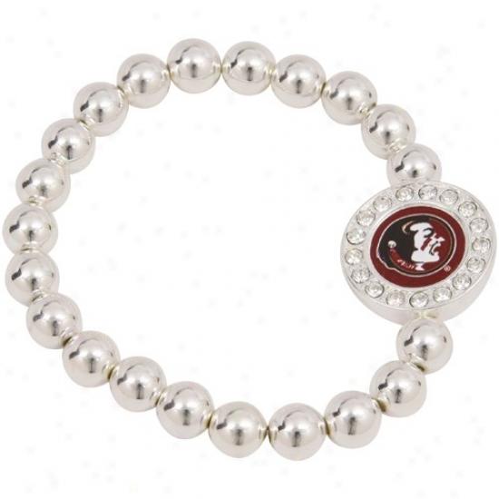 Florida State Seminoles (fsu) Round Crystal Beaded Stretch Bracelet