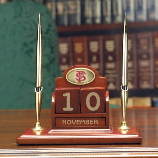 Florida State Seminoles (fsu) Wooden Calendar Desk Set
