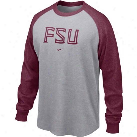Florida State T Shirt : Nike Florida State (fsu) Ash-garnet Waffle Long Sleeve Company Top