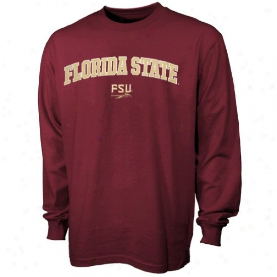 Florida State University Tshirts : Florida State University (su) Garnet Perpendicular Arch Long Sleeve Tshirts