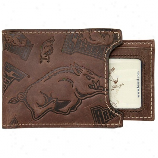 Fossil Arkansas Razorbacks Brown Leather Shut Out Bifold Wallet